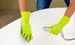 The tub is prone to mildew and soap scum build-up, so wiping it down after each us will help keep it clean.