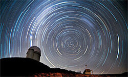 Just another night watching the stars rotate around the southern celestial pole at La Silla Observatory.