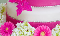This cake contrasts super-smooth fondant with texture from rhinestones, flowers and a sugary butterfly.