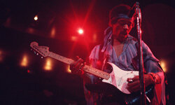 Hendrix performs at the Felt Forum in January of 1970, the year of his death.