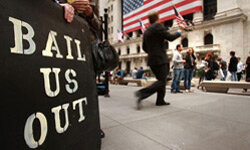 Protesters line up outside the New York Stock Exchange in October 2008, shortly after a stock crash caused many of the world's markets to close temporarily.