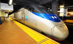 The high-speed Amtrak Acela train at a station in Philadelphia. Despite this innovation, Amtrak doesn't reach many rural areas.