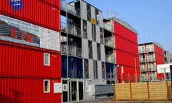 The Keetwonen student dorm complex in Amsterdam is a veritable village of shipping containers.