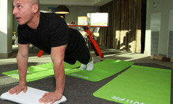 Celebrity trainer Harley Pasternak tries out Wii Fit at an L.A. event on Dec. 11, 2008.