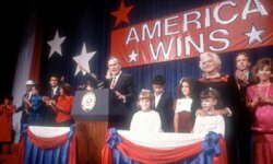 President-elect George H.W. Bush celebrates his victory in November 1988.