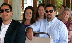 The author (back left) and her family enjoy a tram ride at the San Diego Zoo between the ceremony and reception times.