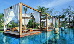 Relax on your own personal lounge pavilion at the Sarojin Resort infinity pool
