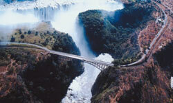 Victoria Bridge Falls in Zimbabwe is 364 feet above Victoria Falls, the most visited tourist attraction in the country.