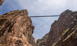 The 956 foot-high Royal Gorge Suspension Bridge in Colorado was built in 1929 spanning 1,260 feet across.