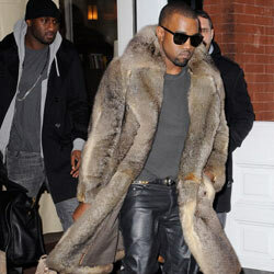 Kanye is one of a handful of designers whose 2012 collections incorporate fur into the pieces, and Kanye himself has been photographed on more than one occasion sporting a knee-length fur coat (seen here).