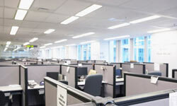 Many offices are lit with fluorescent lamps.