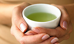 A soothing cup of green tea before bedtime is also a healthy drink.