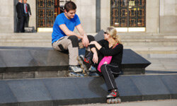 Do you both like sports? Grab your pair of rollerskates and go for a spin.