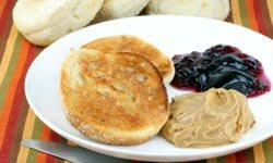 For one twist on the standard PB&J, try using a bagel or English muffin instead of bread.