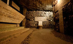 The Catacombs of Paris contains millions of human bones that were removed from the city's cemeteries in the 18th and 19th centuries.