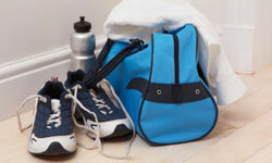 Staying Healthy Image Gallery A good gym bag has separate compartments for shoes and dirty clothes. See more pictures of staying healthy.