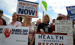Health care reform in the U.S. is a highly divisive issue. See more protesting pictures.
