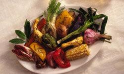 Grilled vegetables taste good hot or cold.