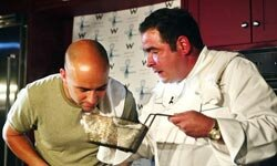 How does it taste, Emeril? Andre Agassi wants to know at the International Taste of Tennis Benefit.