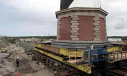 The Cape Hatteras lighthouse slowly made its way to safer ground.