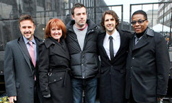 Actor David Arquette, from left, Vicki Escarra, president and CEO of Feeding America, actor Ben Affleck, and musicians Josh Groban and Herbie Hancock use their voices to bring awareness to the cause.