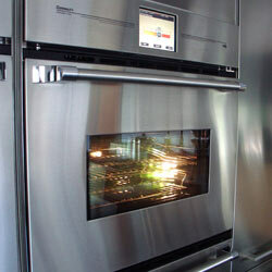 The Connect IO wall oven has a refrigeration setting so you can pop your dinner in before you leave for work, then access the oven via WI-FI to tell it when to start cooking.