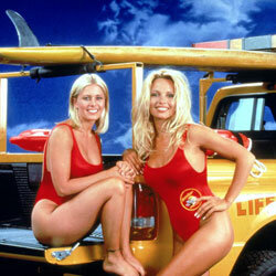 "The red tanks from ""Baywatch"" were all '90s: high-cut legs and low-cut tops."