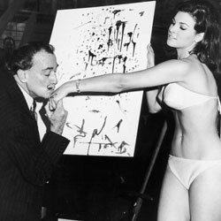 The appearance of Lycra in 1965 made swimsuits stretchy, fast-drying and even more revealing. Here, Salvador Dali kisses the hand of Raquel Welch.