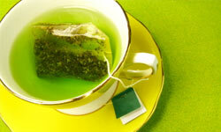 White tea is even better for your skin than green tea, but perhaps less interesting in photographs.