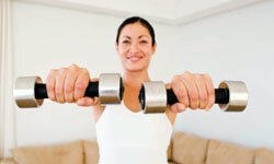 Keep dumbbells handy for easy weight lifting.