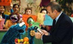 Matt Lauer interviews Cooke Monster from Sesame Street, part of the PBS Kids lineup.