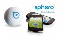 This photo shows the Sphero, along with both the golfing and the driving apps.