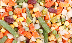 You're frozen now, vegetables, but you'll be warm and ready to eat by dinnertime.