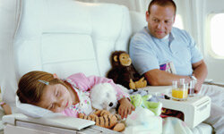 Timing flights with nap schedules will give your child a better chance of falling asleep for a good part of the flight.
