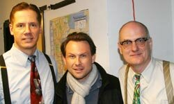 """Christian Slater visits with actors portraying Bill Wilson (left) and Robert Smith (right) in the off-Broadway play """"Bill W. and Dr. Bob."""""""