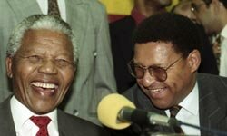 Nelson Mandela shares a laugh with fellow freedom fighter Allan Boesak in 1993.