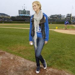 Victoria's Secret model Erin Heatherton looks great in her skinny jeans -- even on the ball field.