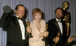 Jack Nicholson, Shirley MacLaine and James L. Brooks show off their awards.