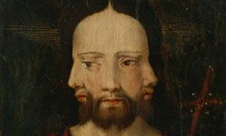 This three-faced Christ stares out at us from a 16th-century Dutch painting.