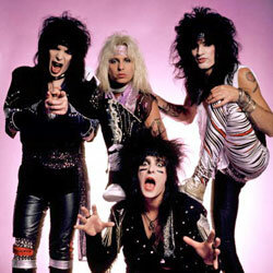 Mick Mars, Vince Neil, Nikki Sixx (front), Tommy Lee of Motley Crue