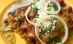 Mushroom soup adds flavor to these enchiladas.