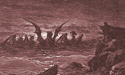 """""""The Vision of the Four Beasts"""" from the Book of Daniel, as envisioned by 19th-century artist Gustave Doré."""