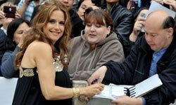 "A radiantly pregnant Kelly Preston at the ""Casino Jack"" movie premiere."