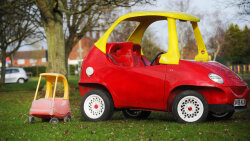 Adult-size Cozy Coupe Ready for the Road