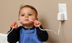 All cords should be well out of reach of this little fingers (and teeth), too.