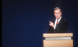 President George H.W. Bush speaks at a presidential debate in St. Louis, four years after a controversial campaign ad helped catapult him to the presidency.