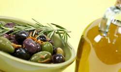 Olive oil contains good fats that are healthful for you to consume.