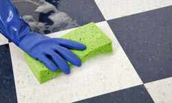 In a small spaces, it's easier to sponge-clean than to maneuver a mop and bucket.