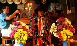 Maximon, a syncretized Mayan deity who accepts his followers vices at Lake Atitlan in Guatemala.