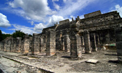 A ruined plaza at Chichen Itza, the ancient Mayan city. Ritual human sacrifice took place here under the influence of hallucinogens and alcohol.